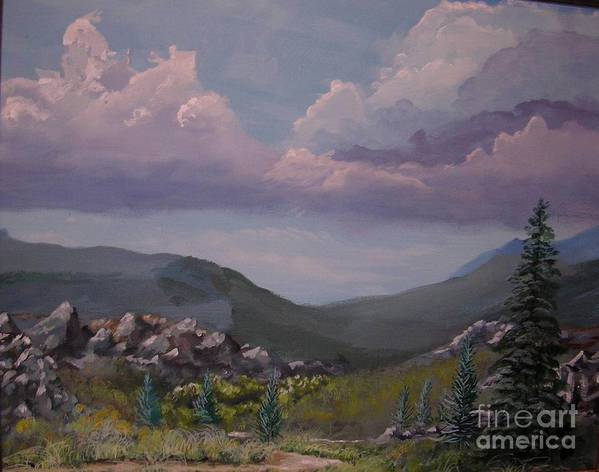 Mountains Poster featuring the painting Hualapai Mountains by John Wise