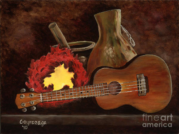 Ukelele Poster featuring the painting Hula Implements by Larry Geyrozaga