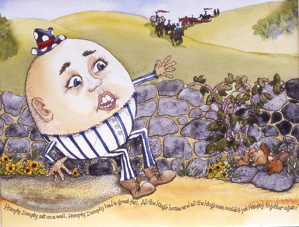 Humpty Dumpty Poster featuring the painting Humpty Dumpty by Victoria Heryet