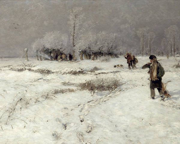 Hunting Poster featuring the painting Hunting In The Snow by Hugo Muhlig