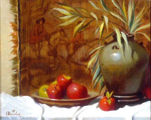Still Life Poster featuring the painting Hunting Tapestry With Chinese Vase And Apples by David Olander