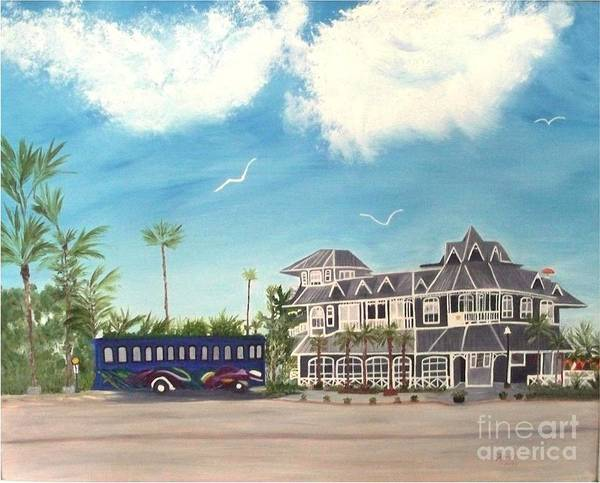 Florida Painting Poster featuring the painting Hurricane Restaurant Pass A Grill Florida by Peggy Holcroft
