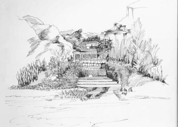Landscape Poster featuring the drawing Hut In The Hills by Padamvir Singh