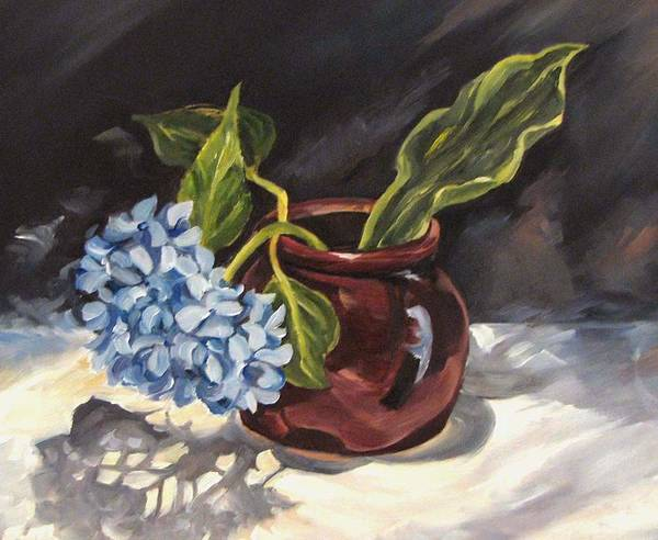 Still Life Poster featuring the painting Hydrangea In A Bean Pot by Cheryl Pass