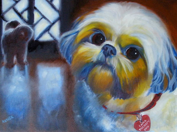 Pet Portrait Poster featuring the painting I Am A Therapy Dog by Kaytee Esser