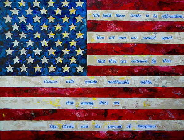 American Flag Poster featuring the painting I Believe by Patti Schermerhorn