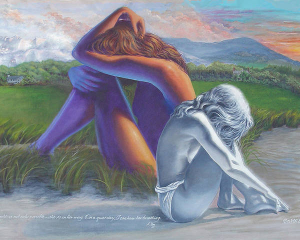Figure Poster featuring the painting I Can Hear Her Breathing by JoAnne Castelli-Castor