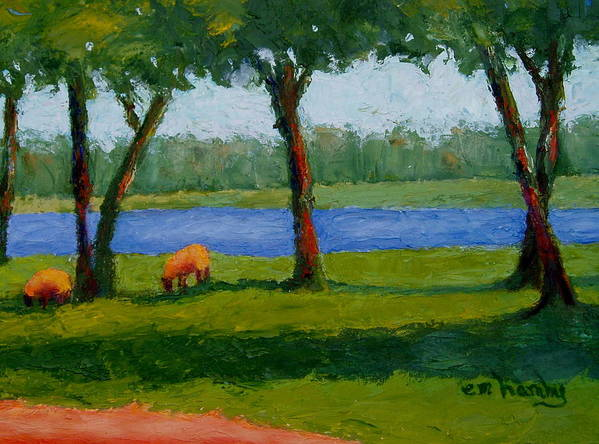 Sheep/landscape/ River /trees Poster featuring the painting I Heard His Voice by Marie Hamby