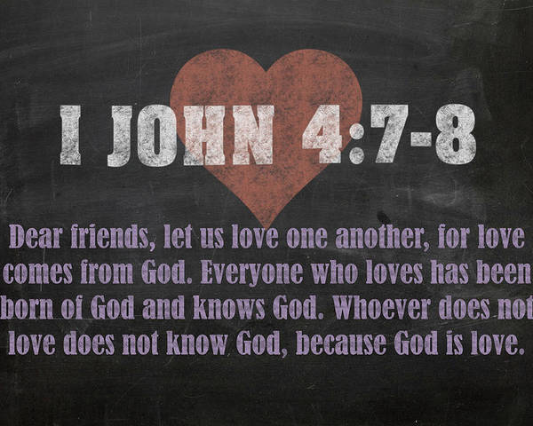 I John 4 7-8 Inspirational Quote Bible Verses On Chalkboard Art Poster