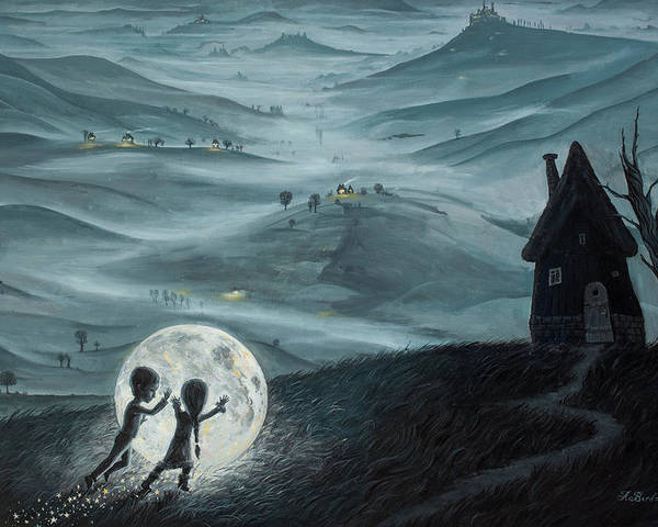 Kids Poster featuring the painting I Love Dreaming Into That Dying Light by Adrian Borda