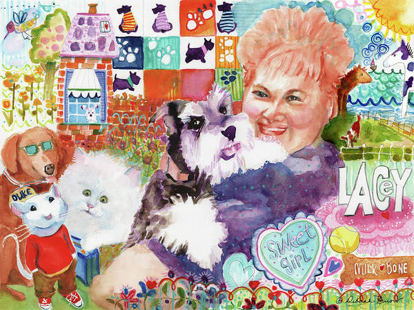 Fluffy Dog Poster featuring the painting I Remember Lacey by Deborah Burow
