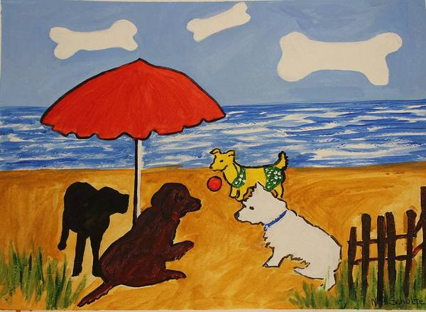 Beach Poster featuring the painting I Suppose She Wants To Play by Nancy Henkel Schulte