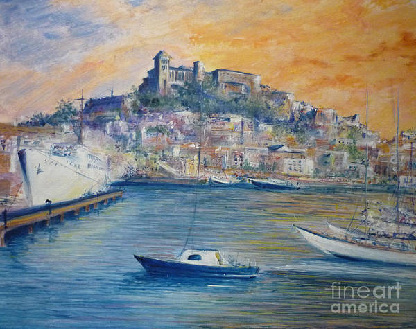 Marina Poster featuring the painting Ibiza Old Town Marina And Port by Lizzy Forrester
