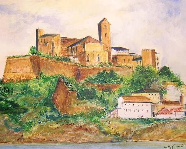 Landscape Poster featuring the painting Ibiza Old Town Unesco Site by Lizzy Forrester