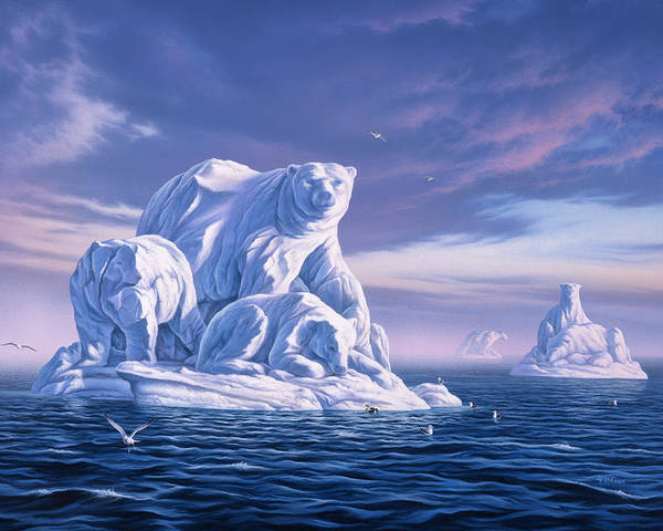 Polar Bear Poster featuring the painting Icebeargs by Jerry LoFaro