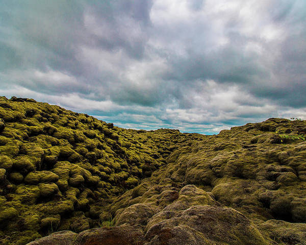 Landscape Poster featuring the photograph Iceland Moss And Clouds by Venetia Featherstone-Witty