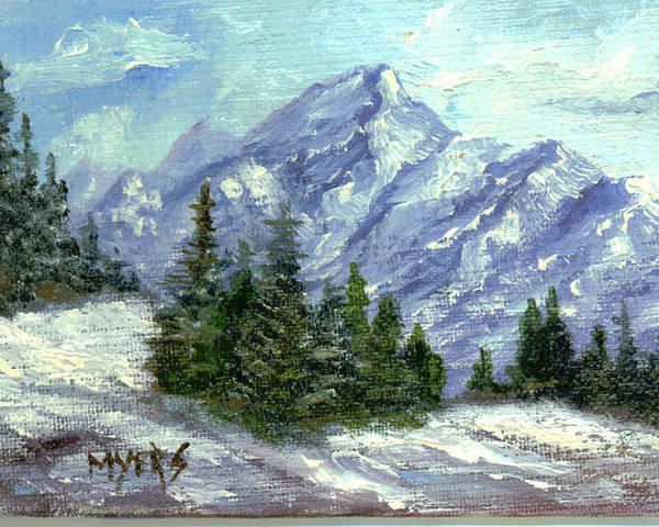 Ice Poster featuring the painting Icy Mountain by Rhonda Myers