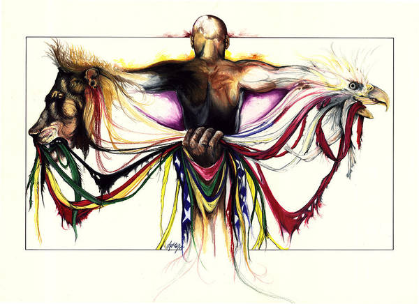 Men Poster featuring the drawing Identity Crisis by Anthony Burks Sr