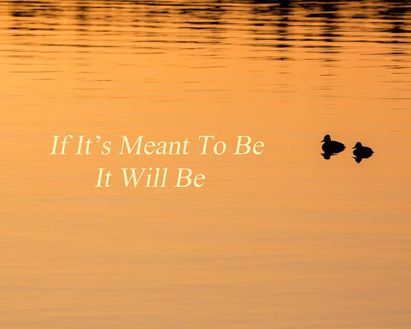 Quotes Poster featuring the photograph If It's Meant To Be It Will Be by Bill Wakeley