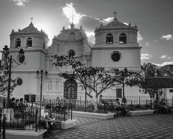 Antigua Guatemala Poster featuring the photograph Iglesia Ciudad Vieja - Guatemala Bnw by Totto Ponce