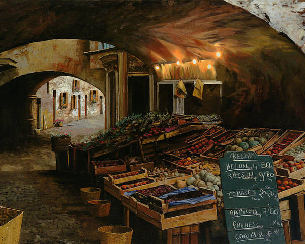 Market Poster featuring the painting Il Mercato Francese by Guido Borelli