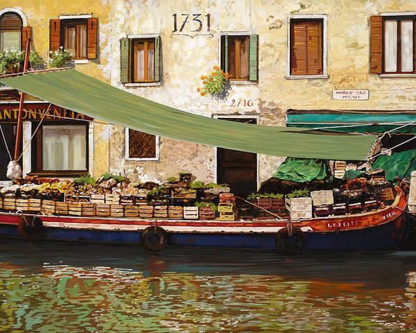 Venice Poster featuring the painting il mercato galleggiante a Venezia by Guido Borelli