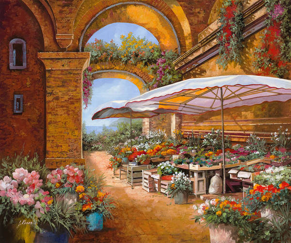 Market Poster featuring the painting Il Mercato Sotto I Portici by Guido Borelli