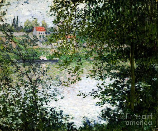 Claude Monet Poster featuring the painting Ile De La Grande Jatte Through The Trees by Claude Monet