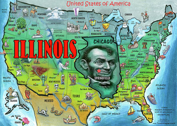 Illinois Usa Cartoon Map Poster on usa map south dakota, usa map washington, usa map chicago, usa map tennessee, usa map louisiana, usa map long island, usa map new jersey, usa map florida, usa map virginia, usa map springfield, usa map iowa, usa map wisconsin, usa map wyoming,