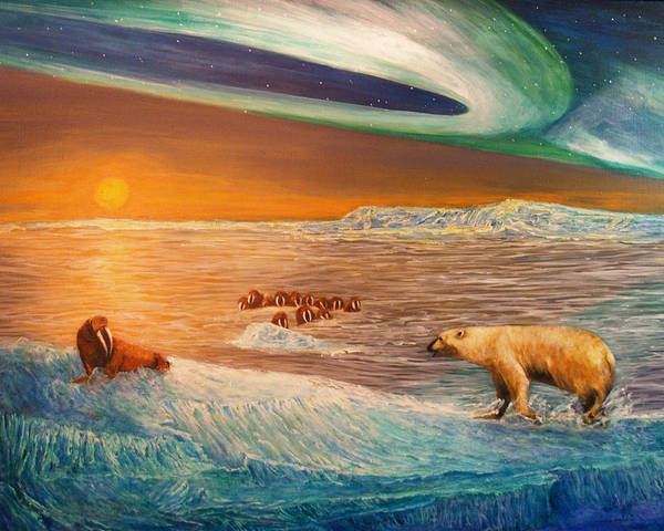 Walrus Poster featuring the painting Impending Threat by Dianne Roberson