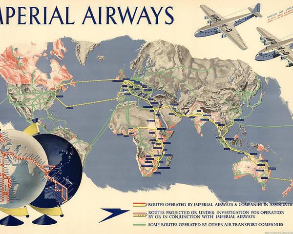 Imperial airways vintage travel advertising poster world map imperial airways poster featuring the mixed media imperial airways vintage travel advertising poster world gumiabroncs Choice Image