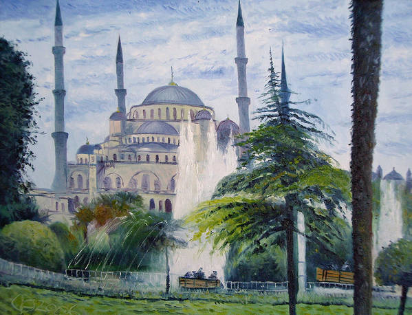 Turkey Poster featuring the painting Imperial Sultanahmet Mosque Istanbul Turkey 2006 by Enver Larney