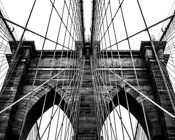Brooklyn Bridge Poster featuring the photograph Imposing Arches by Az Jackson