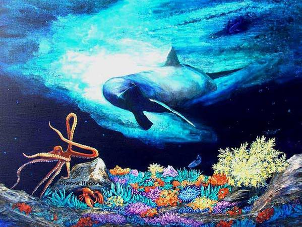 Whale Poster featuring the painting Imposing Gaze by Dianne Roberson