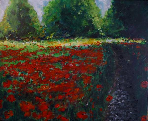 Poppy Poster featuring the painting Impressionist Poppy Field by Lizzy Forrester