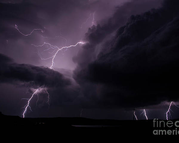 Lightning Poster featuring the photograph Impressive Lightning by Francis Lavigne-Theriault