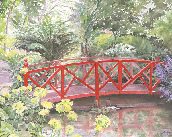 Landscape Poster featuring the painting In Abbotsbury Subtropical Gardens. by Maureen Carter