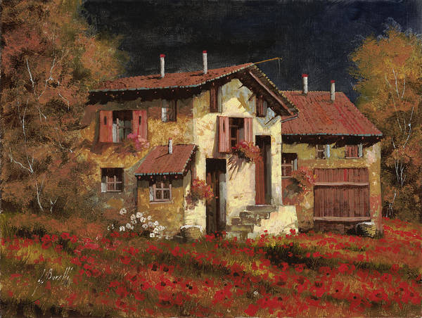 Landscape Poster featuring the painting In Campagna La Sera by Guido Borelli