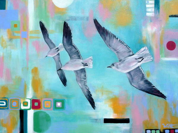 Seagulls Poster featuring the painting In Flight by Tammy Watt
