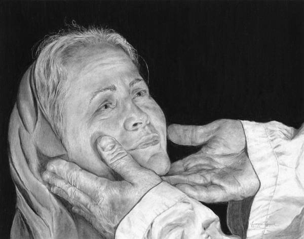 Portrait Poster featuring the drawing In His Hands by Jyvonne Inman