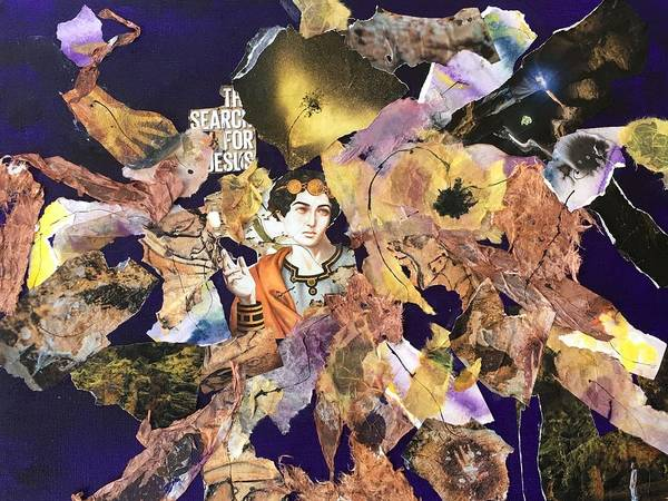 Collage Poster featuring the painting In Search Of Jesus by Marge Healy