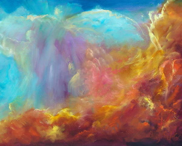 Celestial Poster featuring the painting In The Beginning by Sally Seago