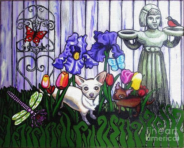 Dog Poster featuring the painting In The Chihuahua Garden Of Good And Evil by Genevieve Esson