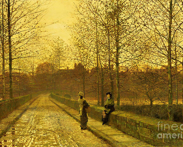 The Poster featuring the painting In The Golden Gloaming by John Atkinson Grimshaw