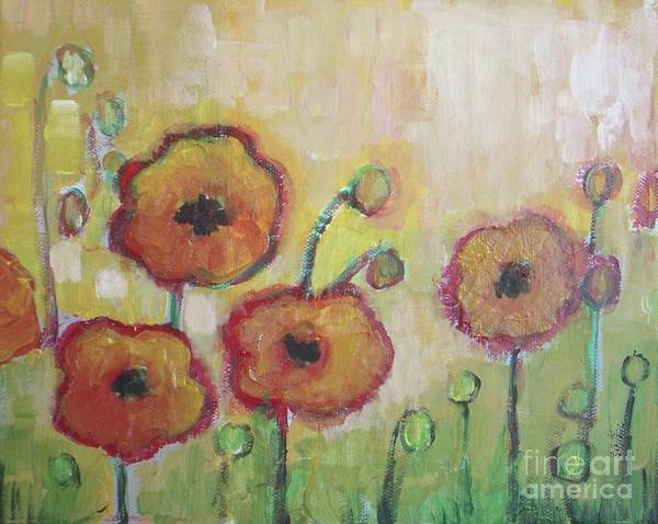 Poppies Poster featuring the painting Poppies At Dusk by Vesna Antic