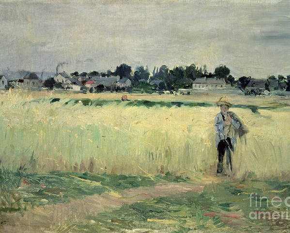 The Poster featuring the painting In The Wheatfield At Gennevilliers by Berthe Morisot