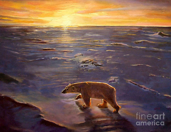Polar Bear; Arctic; North Pole; Sunset; Setting Sun; Global Warming; Climate Change; Environmental; Melting Ice; Solitary; Deserted; Bear; Ice Poster featuring the painting In The Wilderness by Kevin Parrish