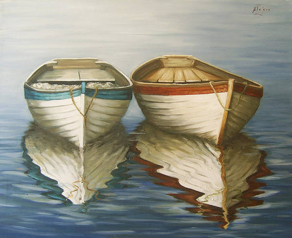 Seascape Ocean Reflection Water Boats Sea Poster featuring the painting In Touch by Natalia Tejera