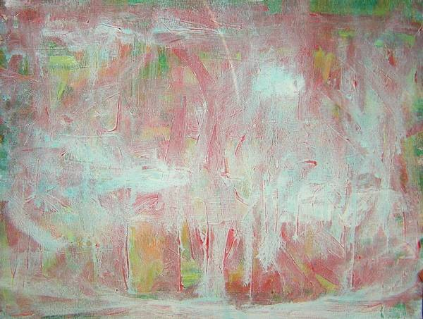Abstract Poster featuring the painting In Winter--the Nowhere Forest by Judith Redman