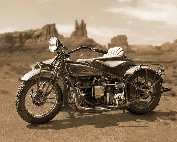 Indian Motorcycle Poster featuring the photograph Indian 4 Sidecar by Mike McGlothlen